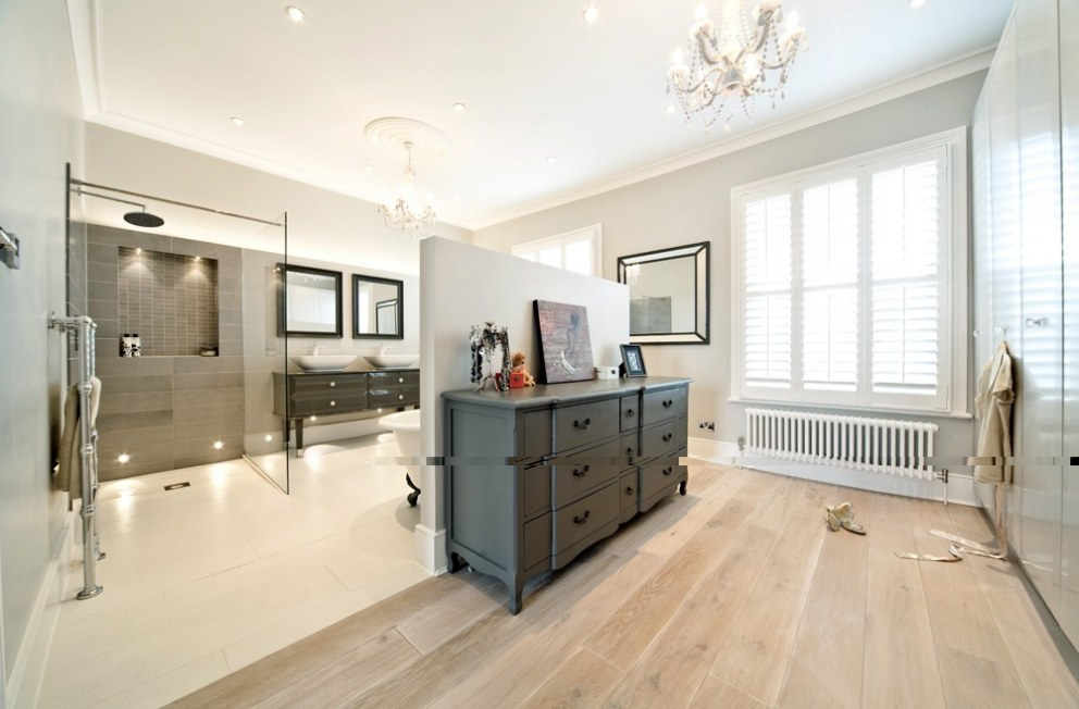 Family home north london master dressing room and ensuite bathroom interior designers Master bedroom ensuite and dressing room