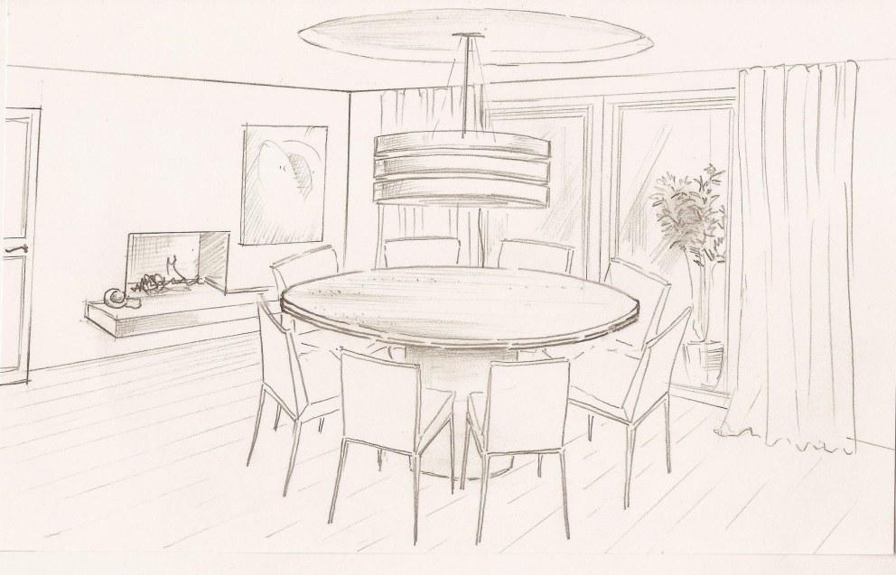 House In Sevenoaks Dining Room Sketch Interior Designers
