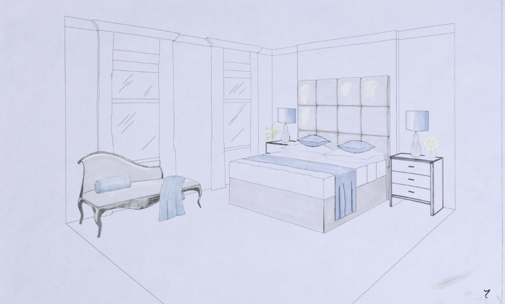 Interior perspective of a bedroom