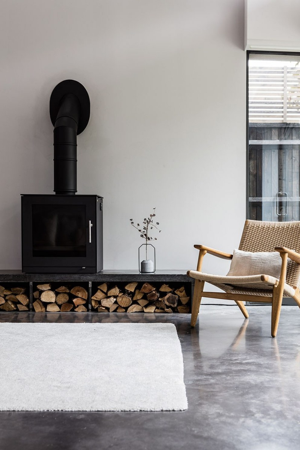 West London contemporary build | Contemporary wood burning stove  | Interior Designers