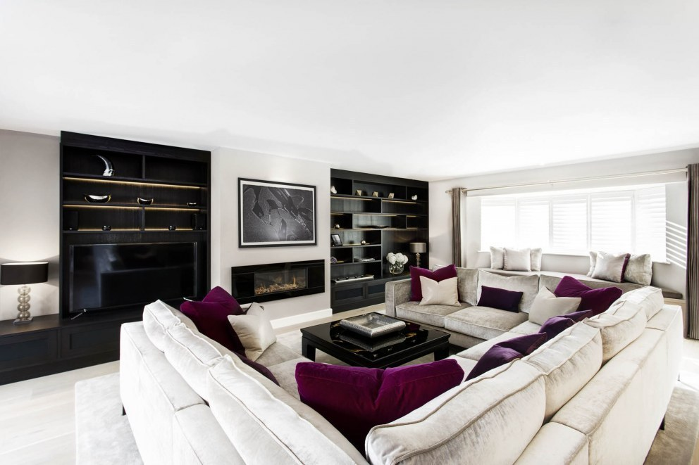 Wiltshire family home | Living room bespoke sofas  | Interior Designers