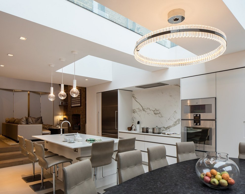 Elegant West London Town House | Open plan Kitchen, Dining & Living Room | Interior Designers