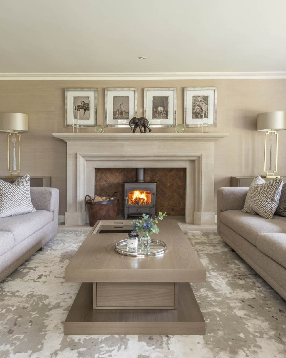 Country home - Hambleden valley  | Sitting room fireplace  | Interior Designers