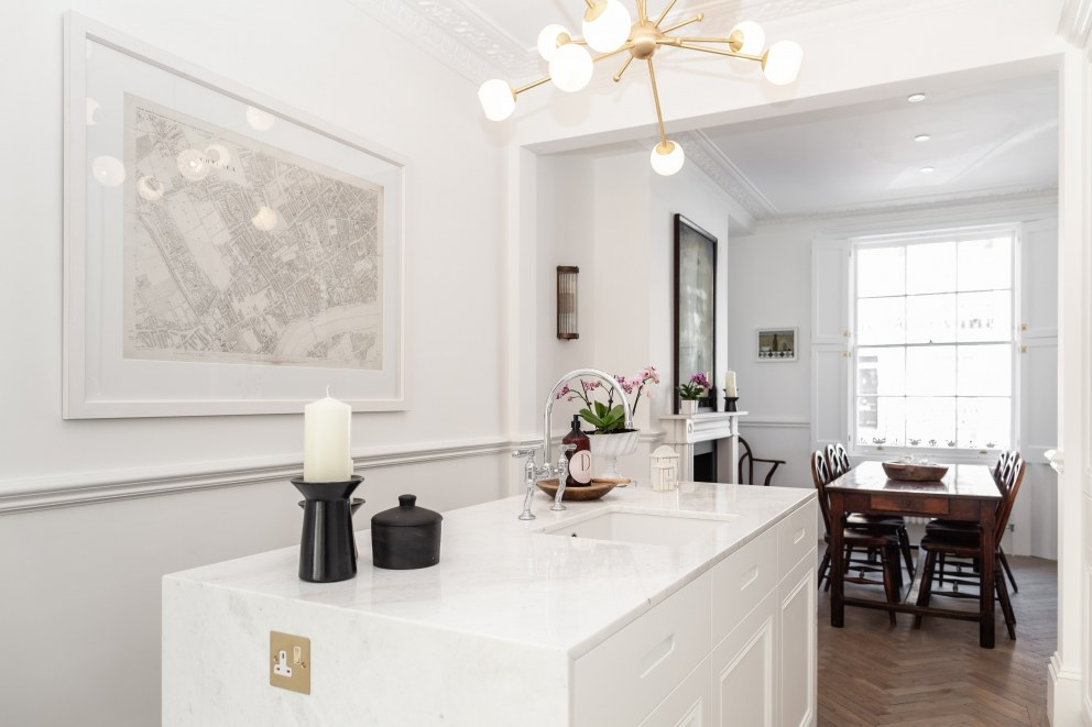 Georgian townhouse in Chelsea | View through kitchen to dining | Interior Designers