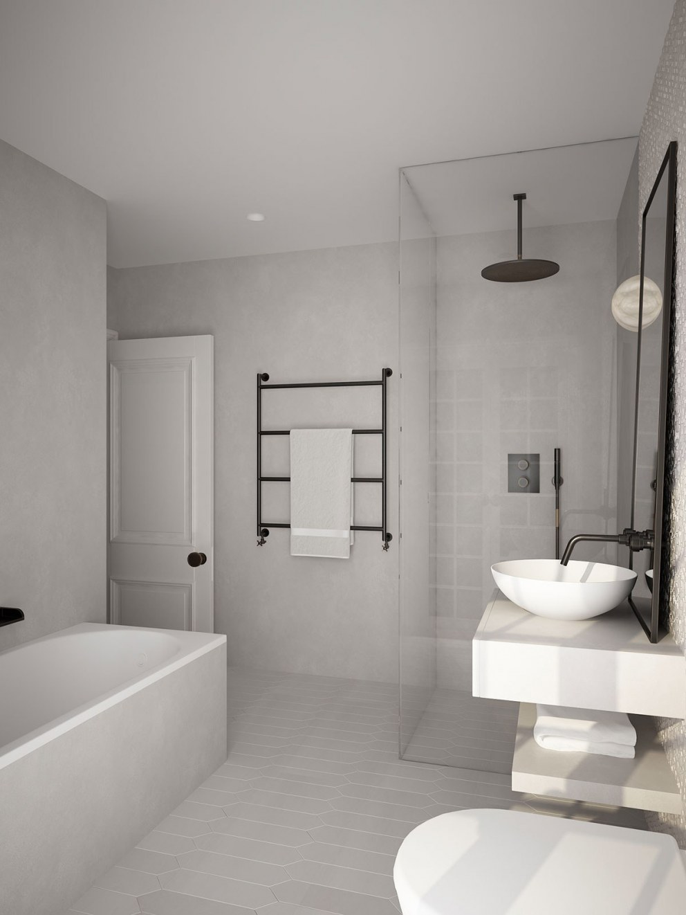 Guest House | Guest Bathroom bath & shower | Interior Designers